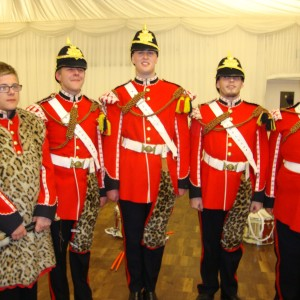 Tom Wood, centre, with former members of the Gloucestershire Army Cadet Force Corps of Drums, who reformed to stage a UV show specially for the occasion