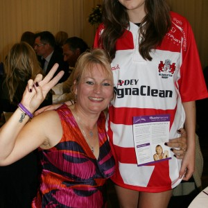 Helen Clarke, with delighted daughter Samantha in her raffle prize Gloucester Rugby shirt