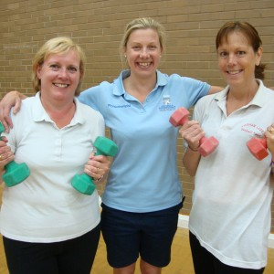 Specialist Cancer Physiotherapist Clare Lait, centre, with Pauline Turfrey, left, and Sarah Bearcroft, right